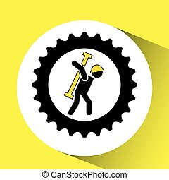 character man worker construction and gears with tool icon