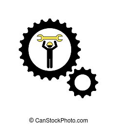 character man worker construction and gears with wrench icon
