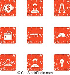 Character money icons set, grunge style