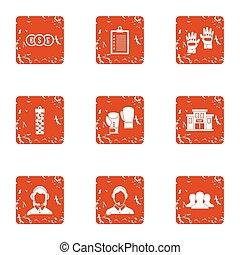 Character money icons set, grunge style