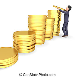 Character Money Shows Business Person And Saves 3d Rendering
