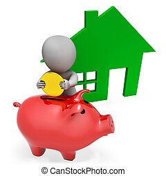 Character Mortgage Shows Piggy Bank And Apartment 3d Rendering