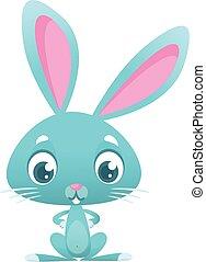 character., nyuszi, húsvét, állat, vektor, ábra, erdő, karikatúra, rabbit.