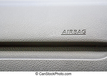 Character of air bag on the black background