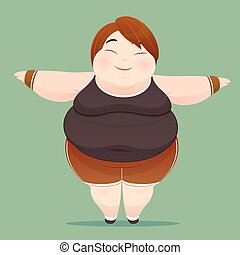 Character of an overweight woman dressed in sportswear on...