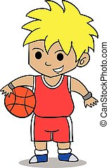 Character of boy playing basketball