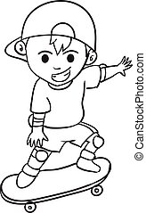 Character of boy playing skateboard