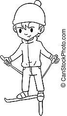 Character of boy playing ski