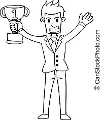 Character of businessman hand draw