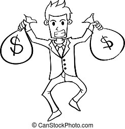 Character of businessman with money