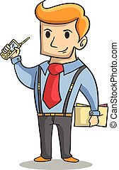 Character of businessman with phone