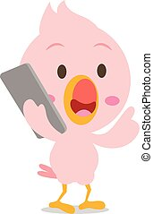 Character of flamingo with phone