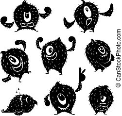 Character of funny monster in different action poses. Devil...