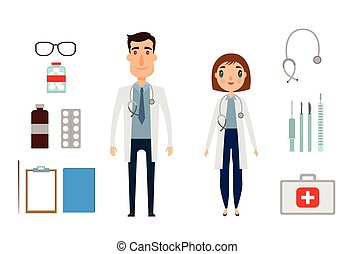 Character of medicine person man and woman. Flat and cartoon style. Vector illustration. White background.