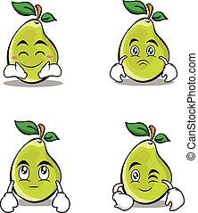 Character of pear cartoon set