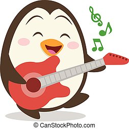 Character of penguin with guitar