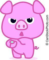 Character of pink pig cartoon