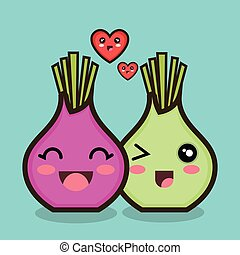 character onion red and green love design