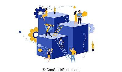 character., online, desenvolvimento, predios, sucesso, virtual, futuro, illustration., cooperação, empregado, carreira, líder, trabalho, ação, crescer, trabalho equipe, negócio global, allocation., eficiente, vetorial, expedir