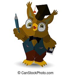 Character, owl teacher with a pencil in his hand, in the hat of the judge, on a white background