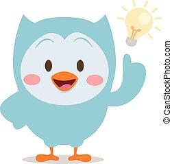 Character owl with idea vector