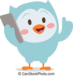 Character owl with phone mascot