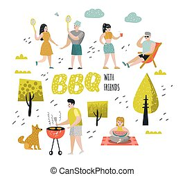 Character People on BBQ Party. Friends on Summer Barbeque and Grill. Outdoor Cooking Meat. Family Picnic. Vector illustration