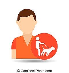 character pet training dog walk