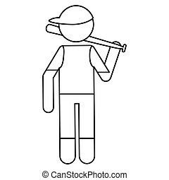 character player baseball with bat ouline