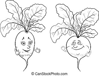 Character radish, outline - Cartoon, vegetables, two...