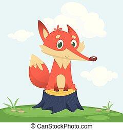 character., renard, illustration, vecteur, dessin animé, heureux