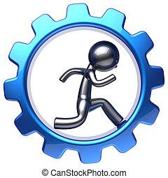 Character running man inside gear wheel businessman work