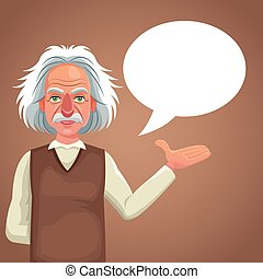 character scientist physical bubble speech vector...