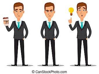 character., set, cartone animato, uomo affari