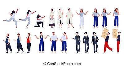 character set collection of casual cartoon business people man and woman with many pose modern colorful style