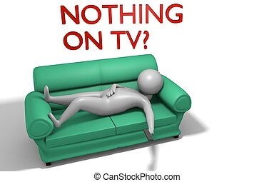 character sitting on a couch in a 3D Illustration