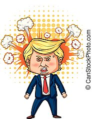 Character sketch of American president Trump illustration