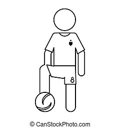character soccer player football uniform ouline