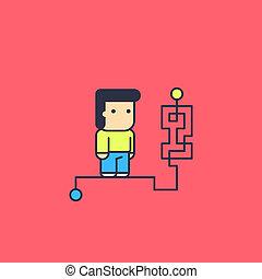 character solves complex logical way. Conceptual...
