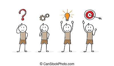 character., solving., problem, gennemførelsen, startup, cartoon, firma, stages