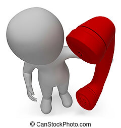 Character Talking Represents Call Us And Calls 3d Rendering