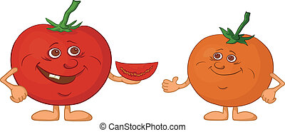 Character tomatoes friends - Cartoon, vegetable - friends, ...