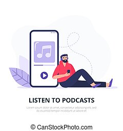 character., ung, lägenhet, podcasting, podcast., lyssnar, ...