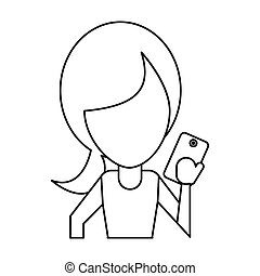 character using smartphone technology thin line