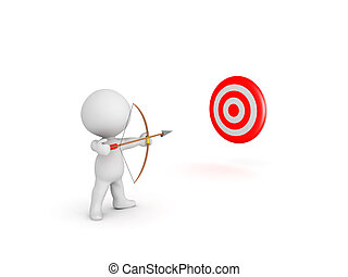 Character with bow and arrow shooting at red target
