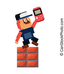 character with console pixel video game vector illustration