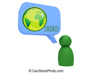 character with eco bubble