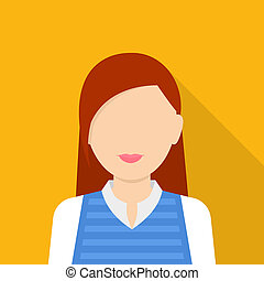 Character woman icon, flat style