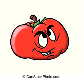 Characterized cartoon tomato on white background vector illustration