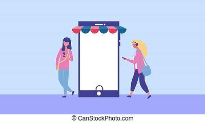 characters, молодой, с помощью, girls, смартфон